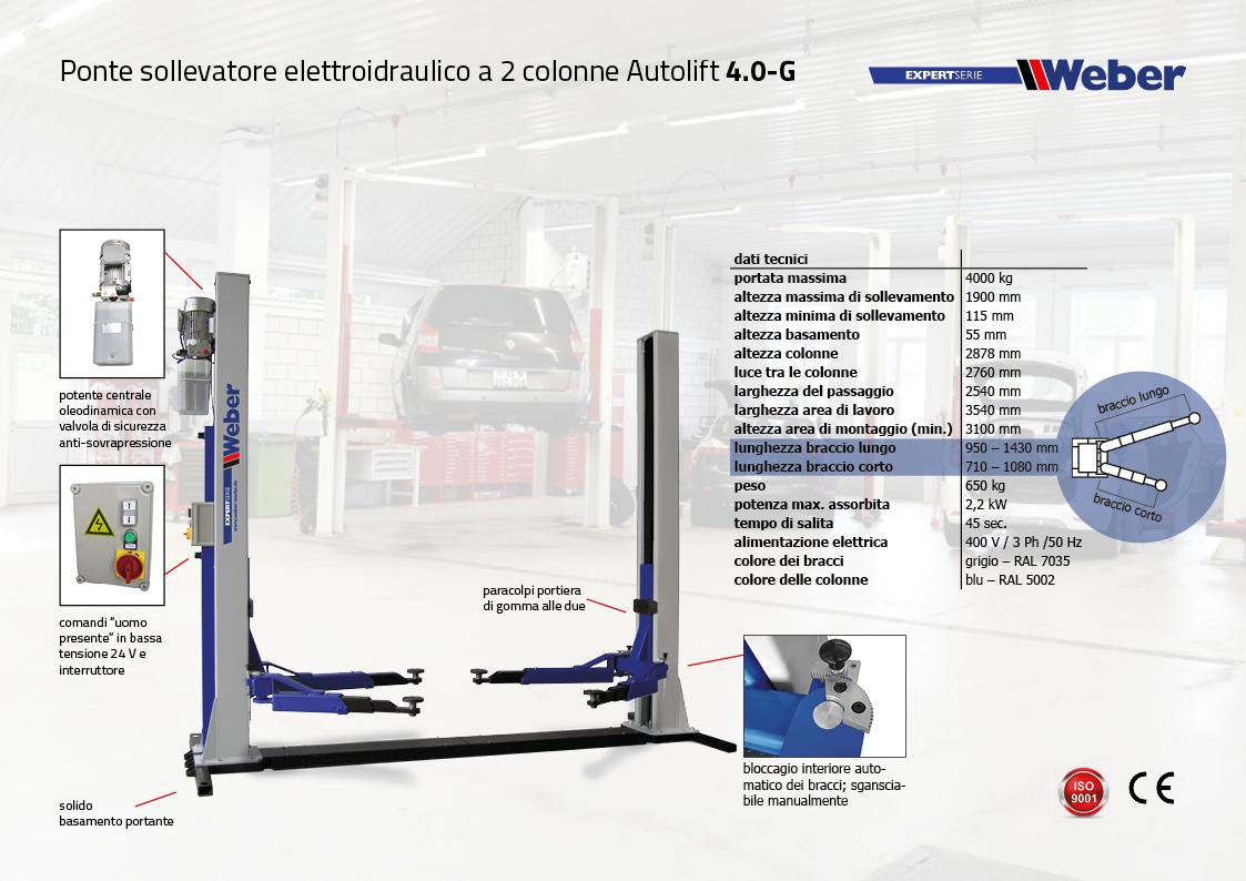 Ponte sollevatore elettroidraulico 2 colonne Weber Expert Serie Autolift 4.0-G con basamento portante