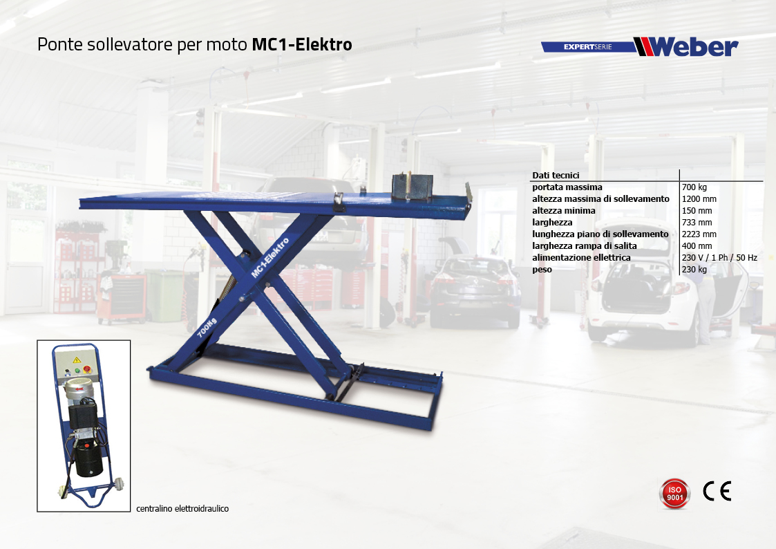 Ponte sollevatore per moto Weber ExpertSerie MC1-Elektro