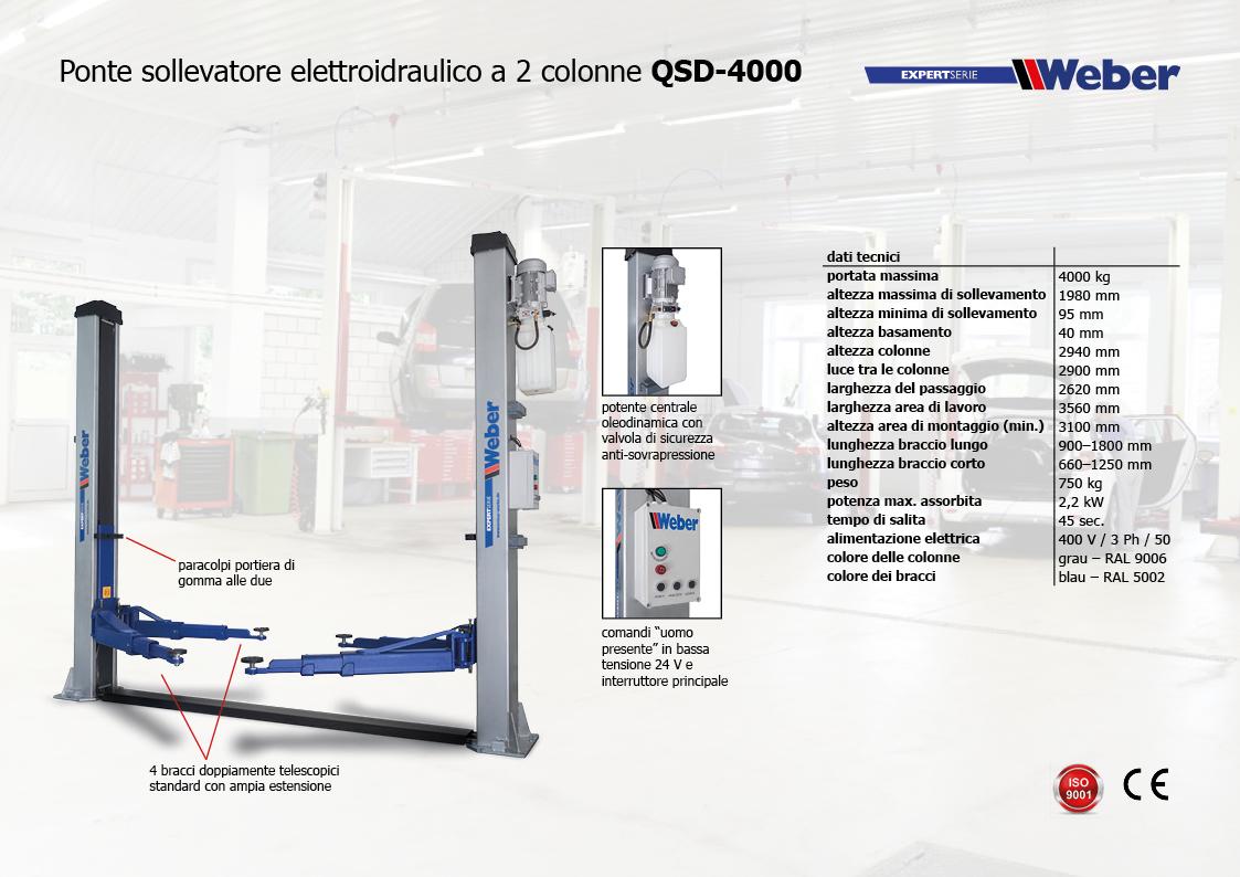 Ponte sollevatore elettroidraulico a 2 colonne Weber Expert-Serie QSD-4000