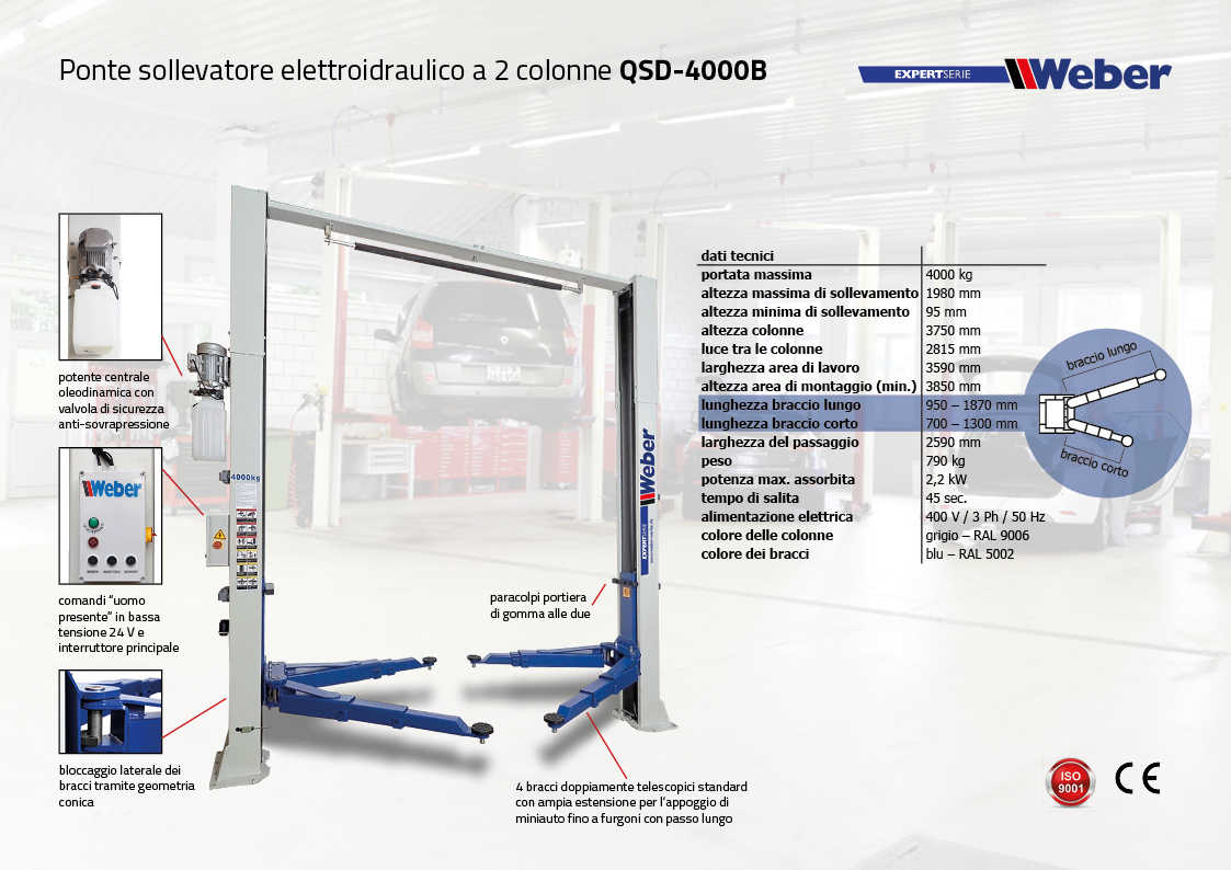 Ponte sollevatore elettroidraulico a 2 colonne Weber Expert-Serie QSD-4000B