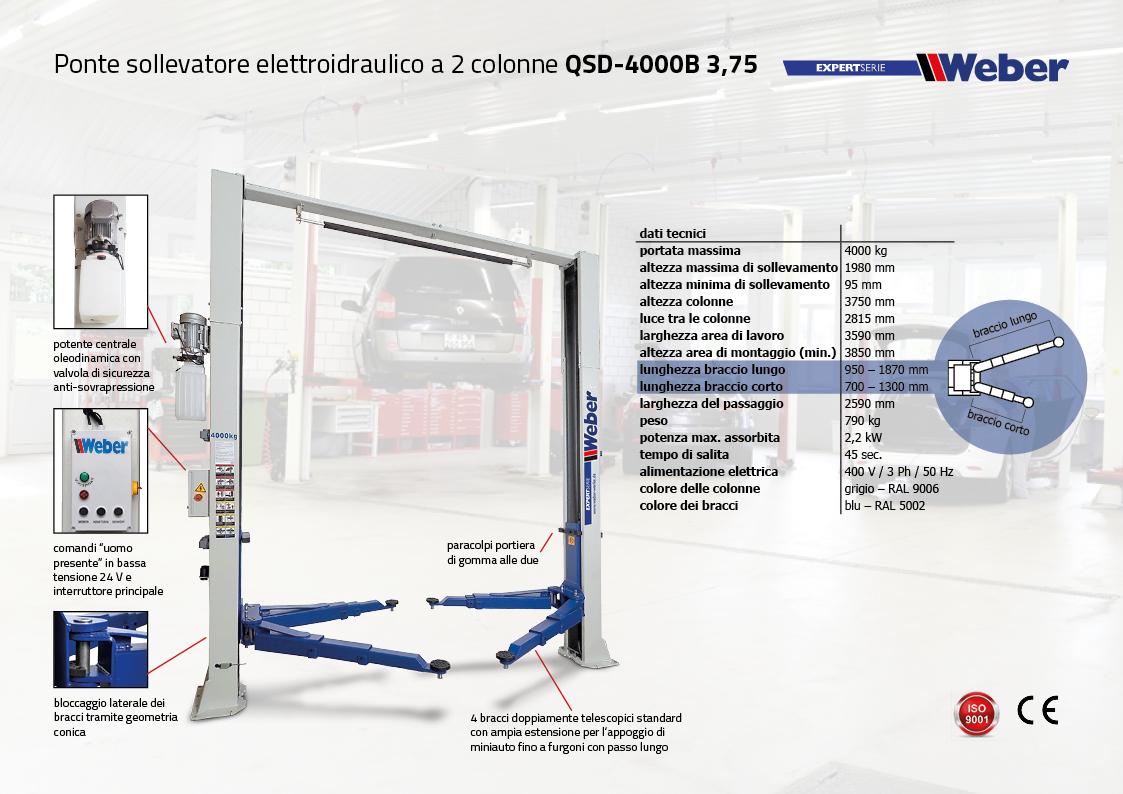 Ponte sollevatore elettroidraulico a 2 colonne Weber Expert-Serie QSD-4000B
