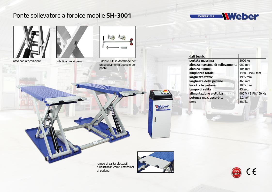 Ponte sollevatore weber a forbice mobile sh 3001 for Ponte sollevatore a forbice
