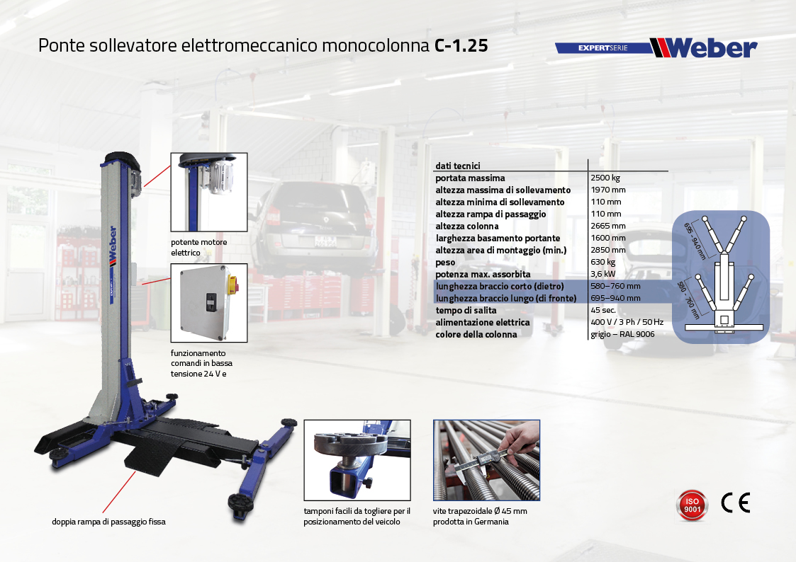 C-1.25 Ponte sollevatore elettromeccanico monocolonna