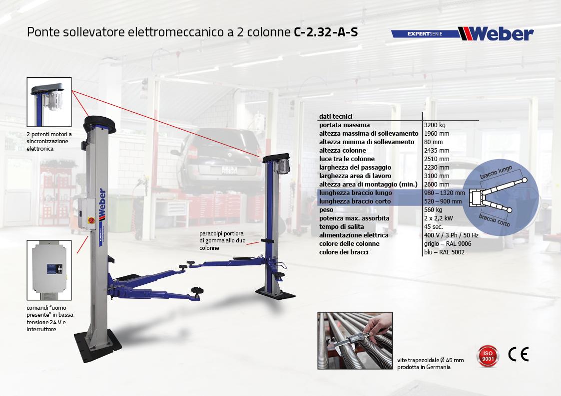 Ponte sollevatore elettromeccanico a 2 colonne C-2.32-AS