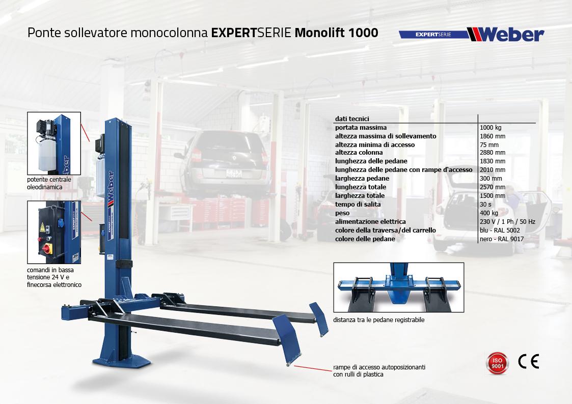 Ponte sollevatore monocolonna Weber Expert Serie Monolift 1000