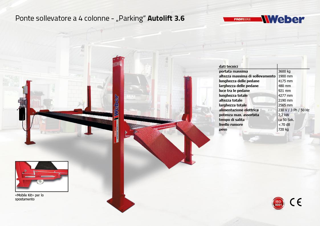 Autolift 3.6 Ponte sollevatore 4 colonne - Parking