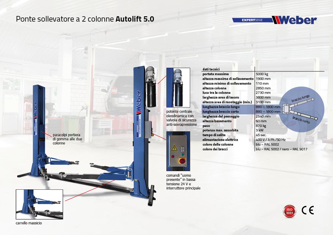 Ponte sollevatore Weber Expert Serie elettroidraulico 2 colonne Autolift 5.0
