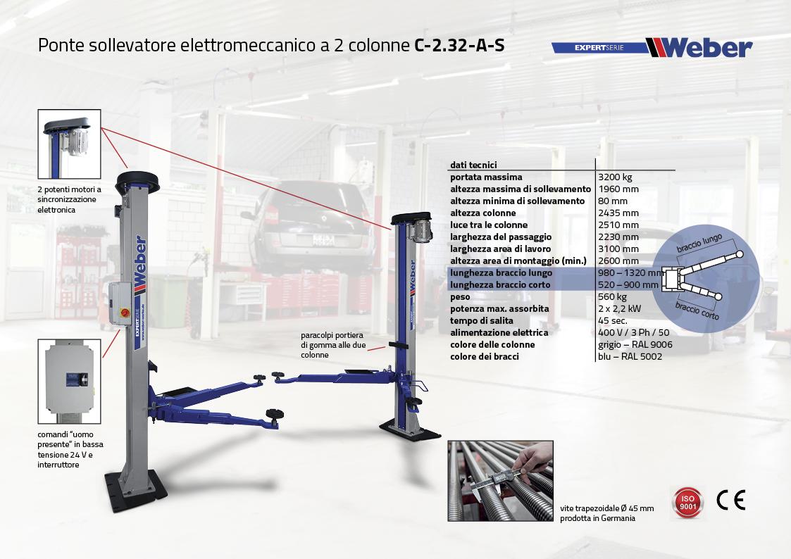 Ponte sollevatore elettromeccanico a 2 colonne C-2.32-A-S