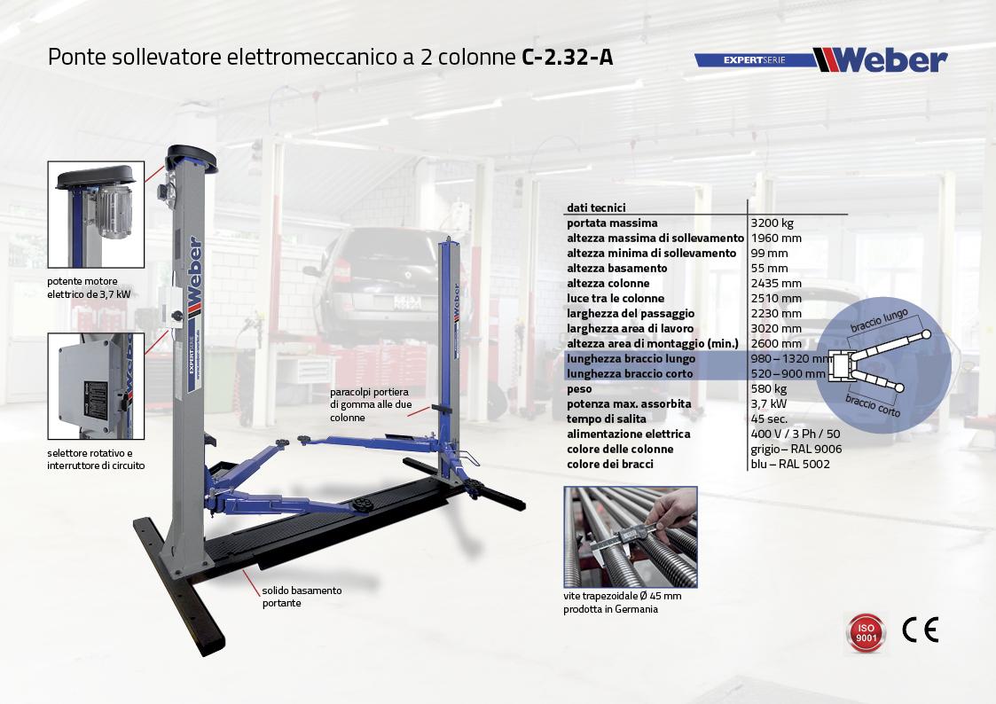 Ponte sollevatore elettromeccanico a 2 colonne Weber C-2.32-A