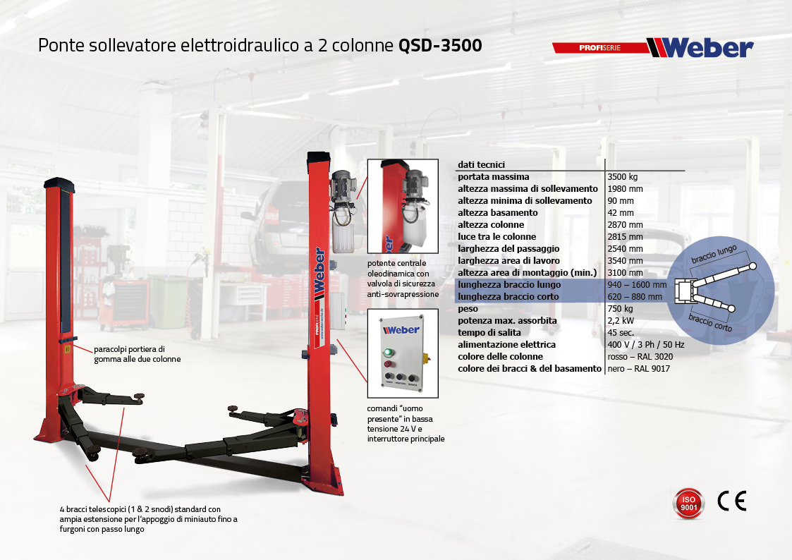 Ponte sollevatore elettroidraulico a 2 colonne QSD-3500