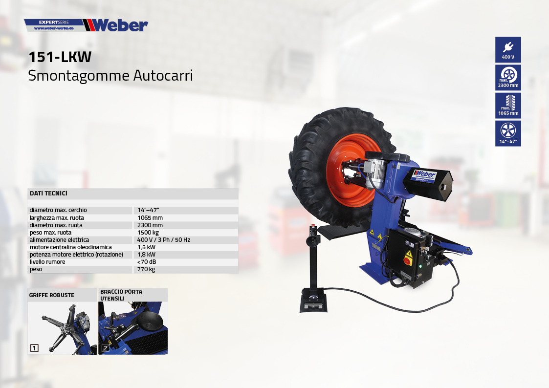 Smontagomme Autocarri Weber Expert-Serie 151-LKW