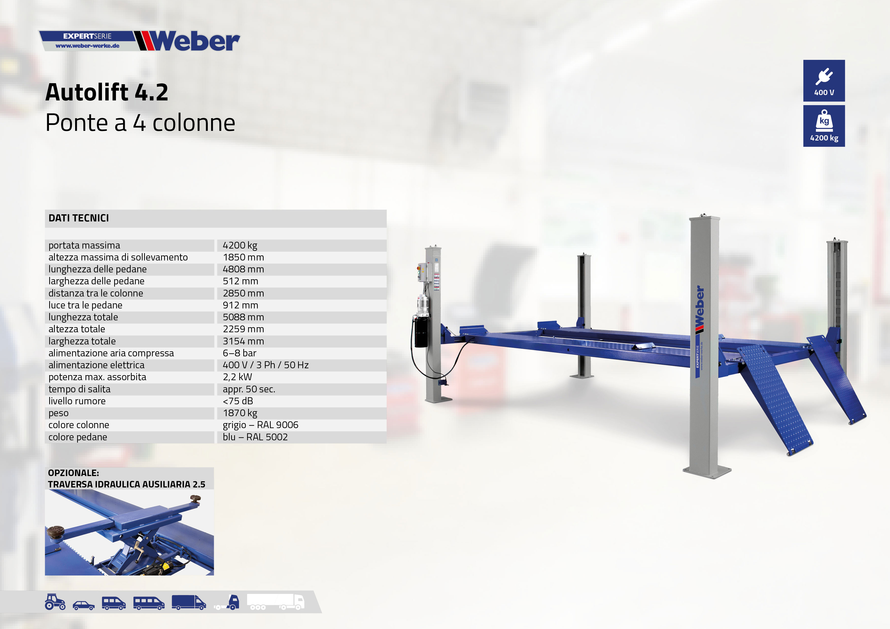 Ponte sollevatore a 4 colonne Weber Expert Serie Autolift 4.2