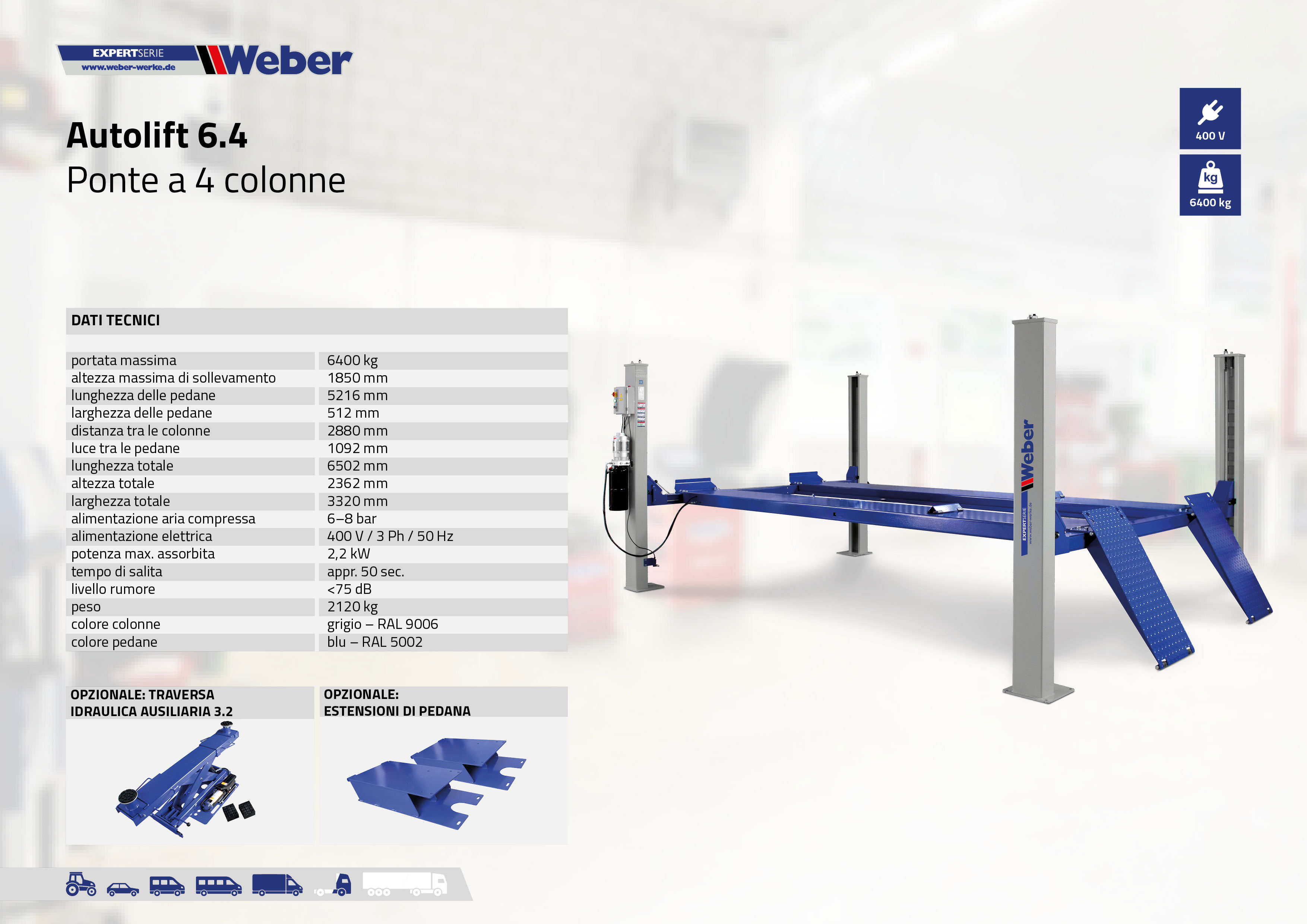 Ponte sollevatore a 4 colonne Weber Expert Serie Autolift 6.4