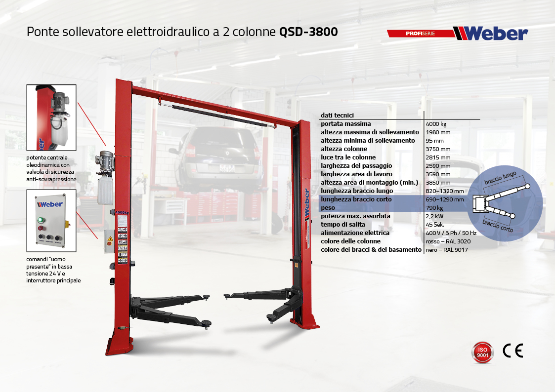Ponte sollevatore 2 colonne Weber ProfiSerie QSD-3800