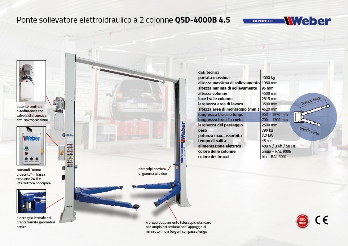 Ponte sollevatore 2 colonne Weber ExpertSerie QSD 4000B – 4.5