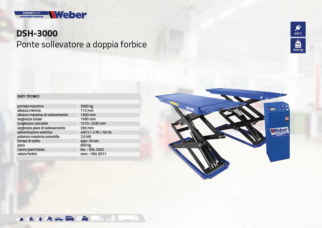 Ponte sollevatore a doppia forbice DSH-3000