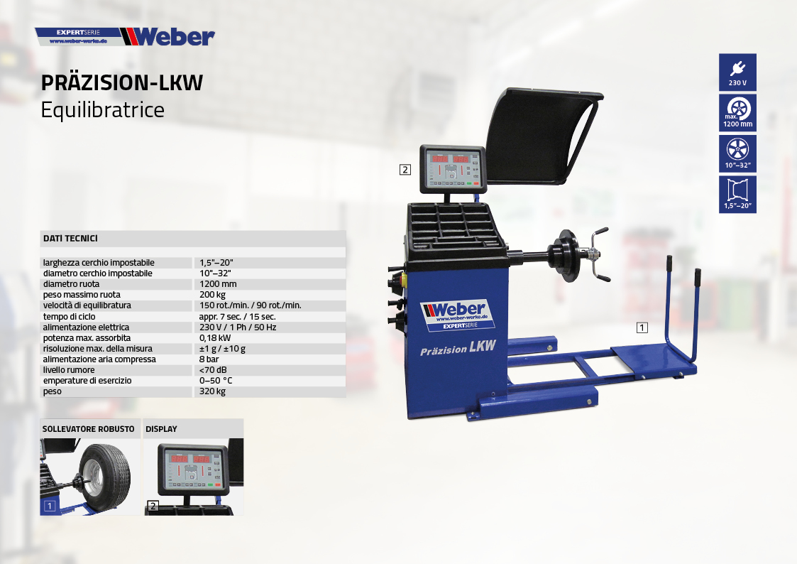 Equilibratrice Weber ExpertSerie Präzision-LKW