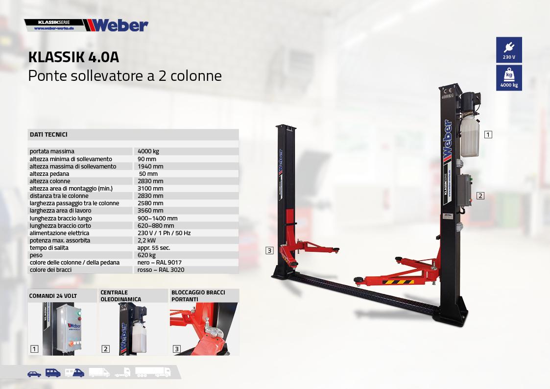 Ponte sollevatore 2 colonne Weber Klassik Serie 4.0A