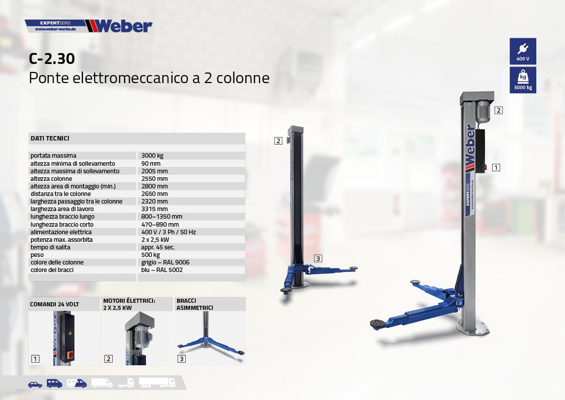 Ponte sollevatore elettromeccanico Weber Expert Serie a 2 colonne C-2.30