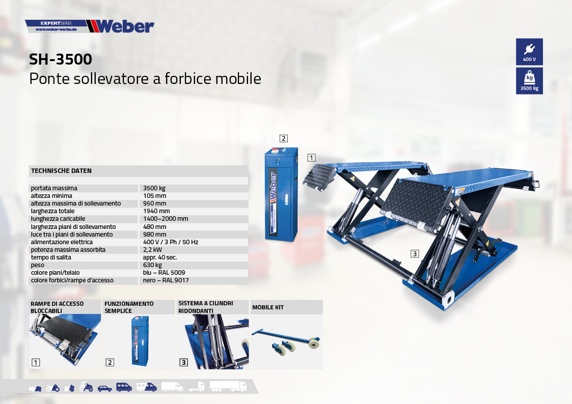 Ponte sollevatore Weber a forbice mobile SH-3500