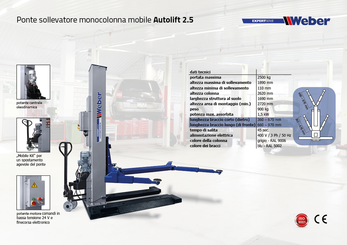 Ponte sollevatore monocolonna mobile Weber Expert Serie Autolift 2.5