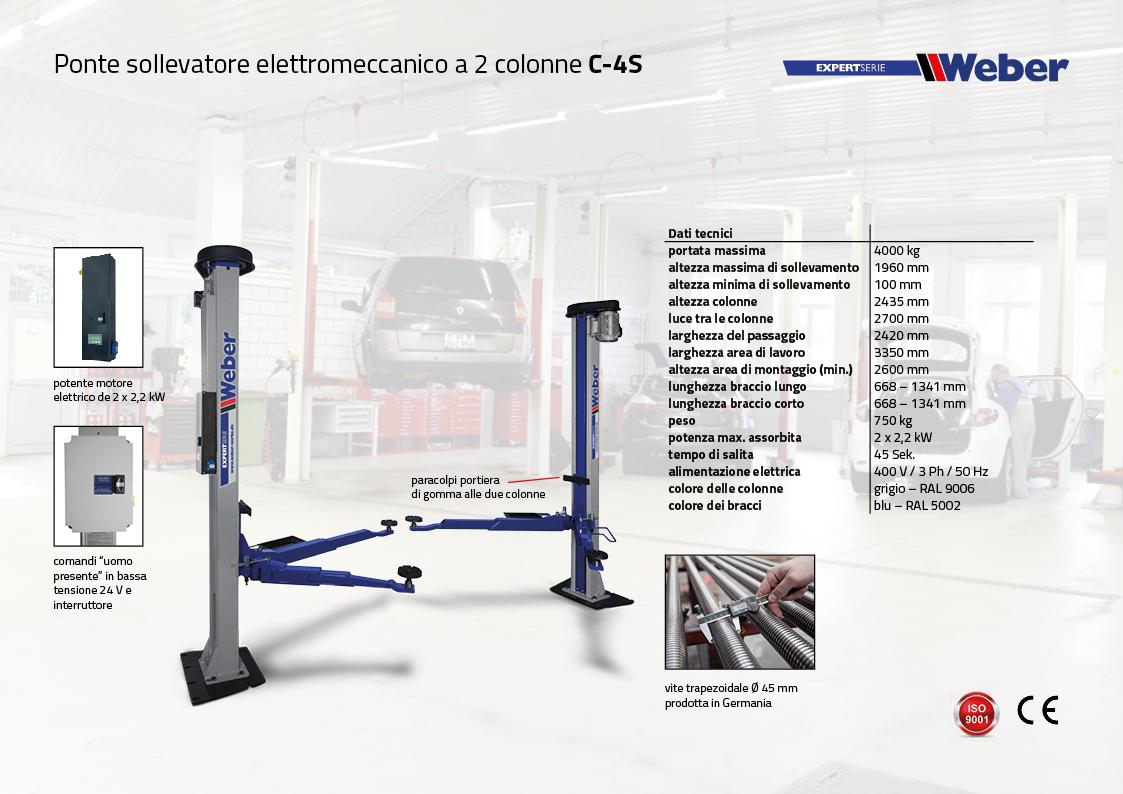 Ponte sollevatore elettromeccanico a 2 colonne C-4S