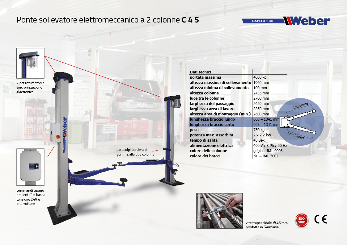 Ponte sollevatore elettromeccanico a 2 colonne C 4 S