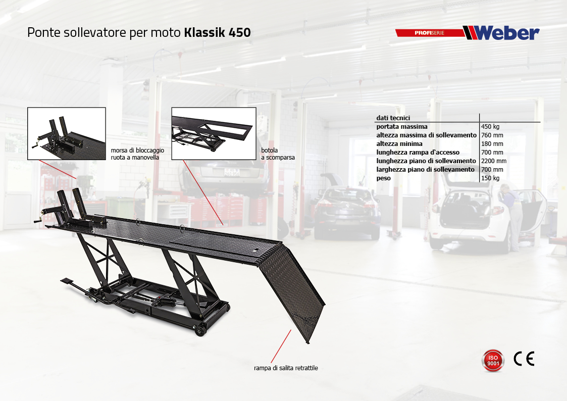 Ponte sollevatore Weber per moto Klassik 450