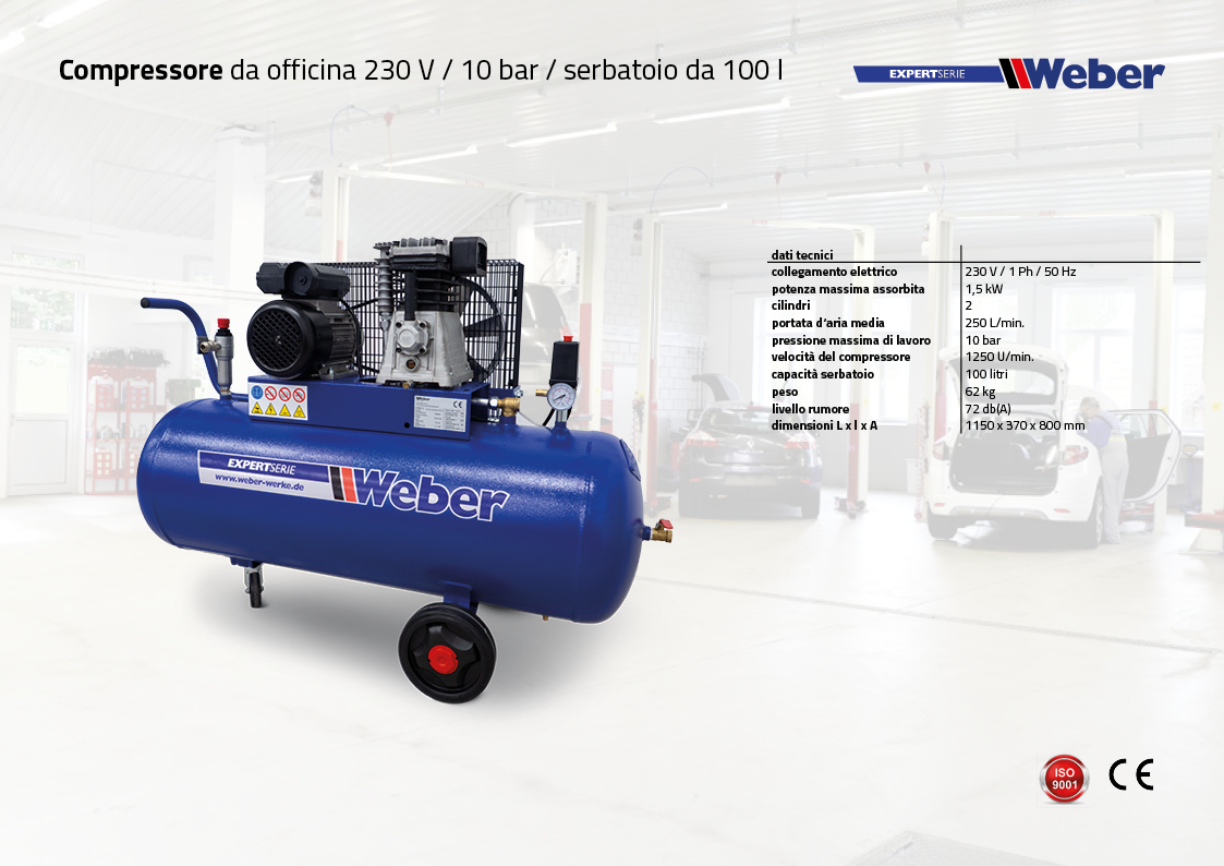 Compressore da officina 230 V / 10 bar / serbatoio da 100 l