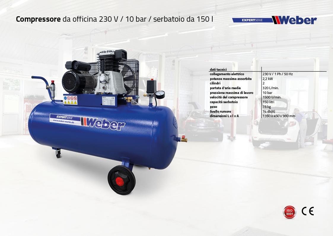 Compressore da officina 230 V / 10 bar / serbatoio da 150 l