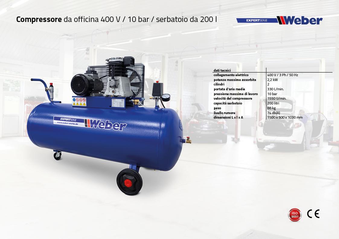 Compressore da officina 400 V / 10 bar / serbatoio da 200 l