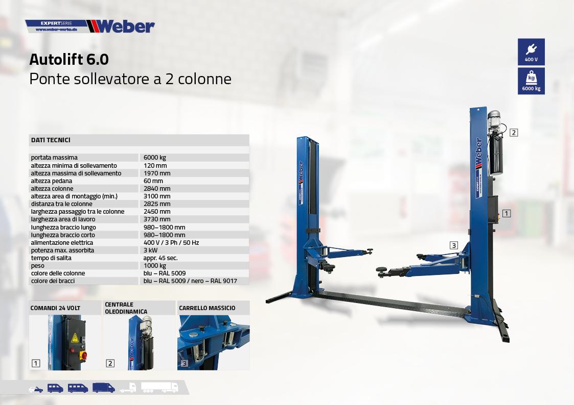 Ponte sollevatore Weber Expert Serie elettroidraulico a 2 colonne Autolift 6.0