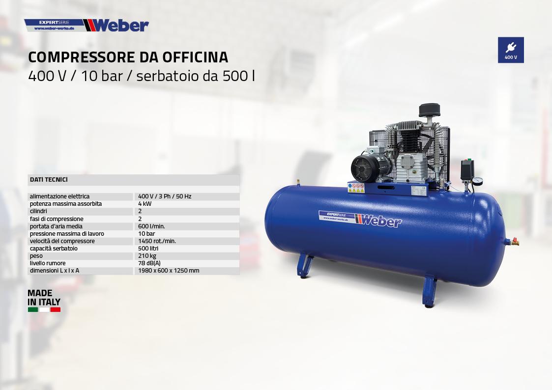 Compressore da officina 400 V / 10 bar / serbatoio da 500 l