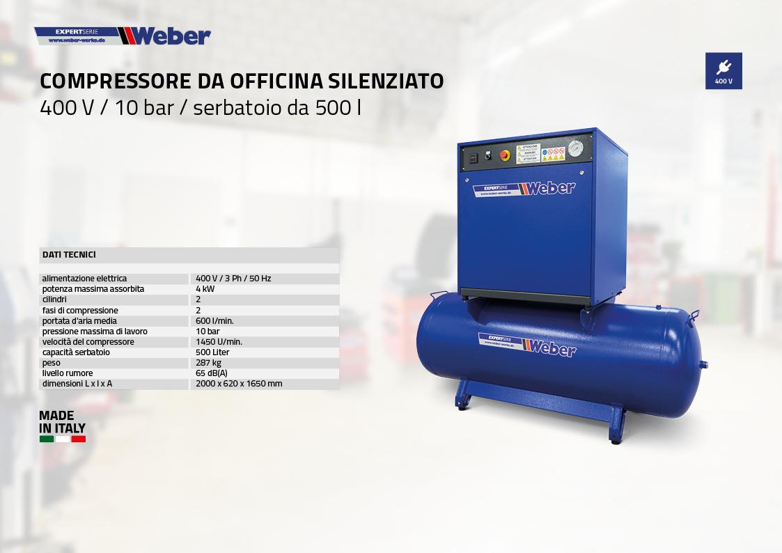 Compressore da officina silenziato 400 V / 10 bar / serbatoio da 500 l