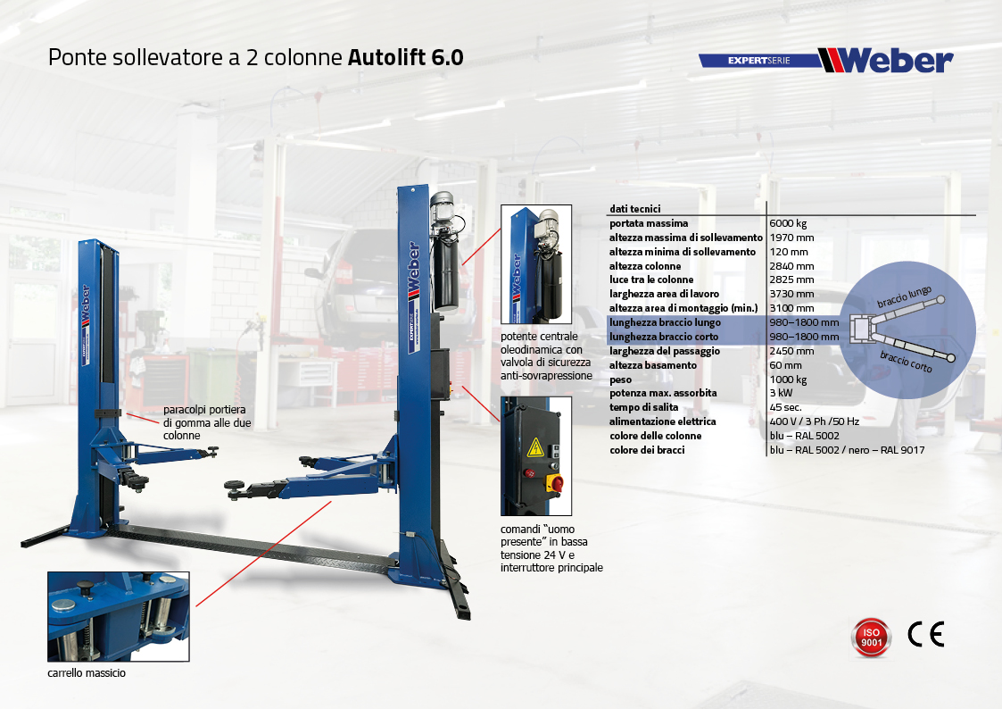 Ponte sollevatore Weber Expert Serie elettroidraulico a 2 colonne Autolift 6.0