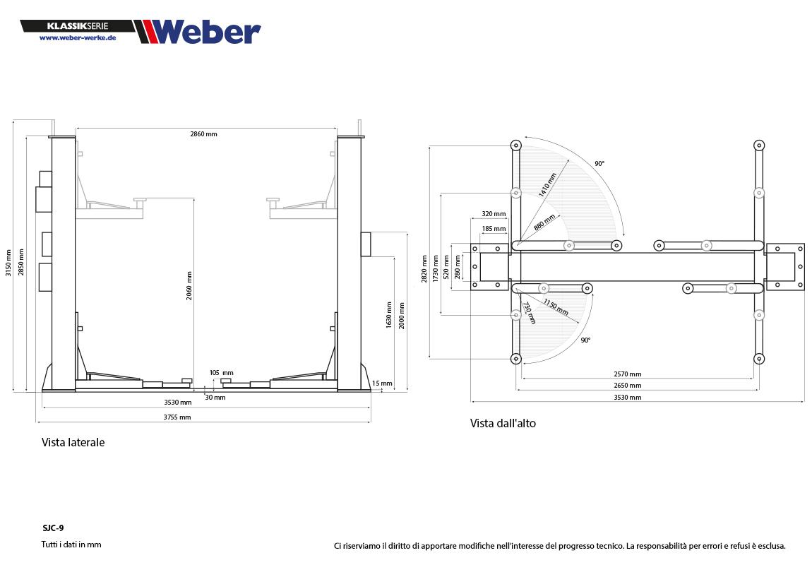 Ponte sollevatore a due colonne weber klassikserie SJC-9