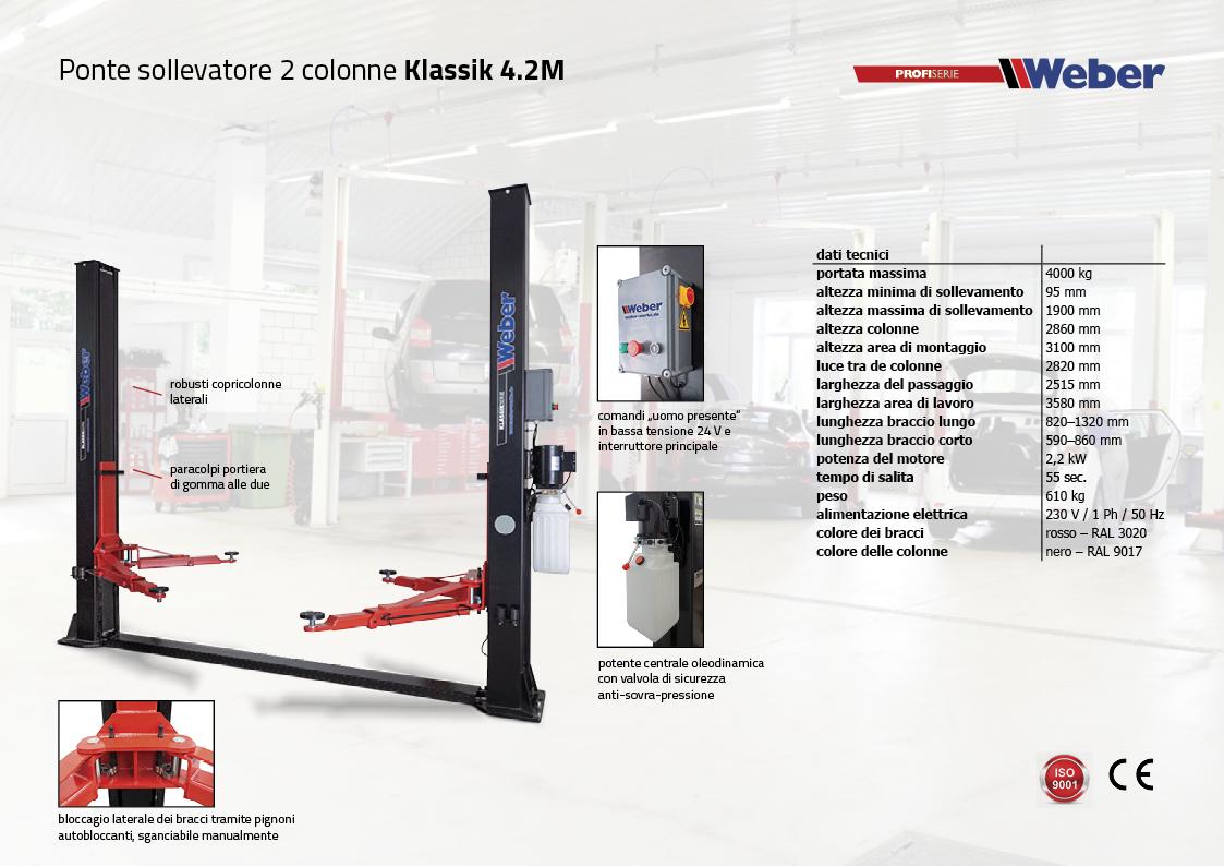 Ponte sollevatore elettroidraulico a 2 colonne Weber Klassik Serie – Klassik 4.2M
