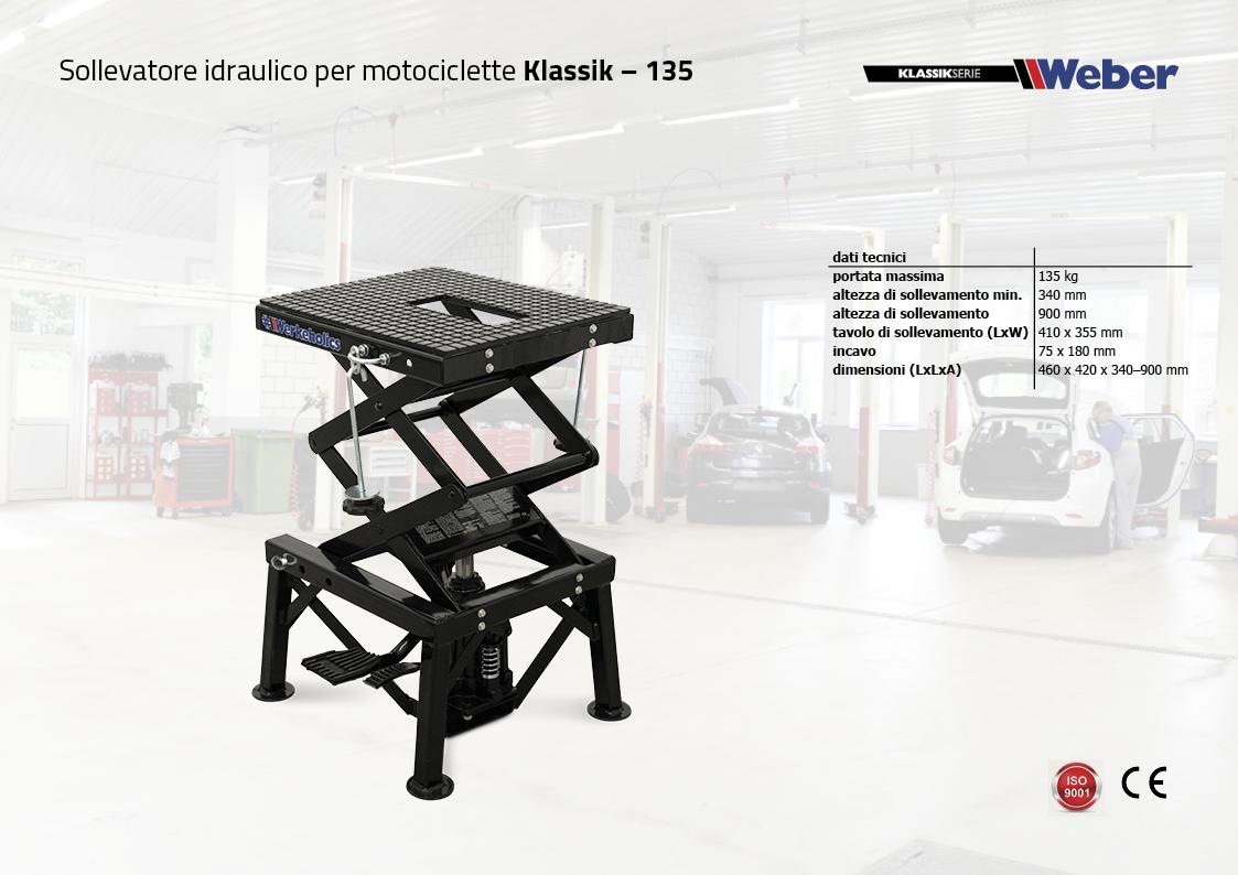 Sollevatore idraulico per motociclette Weber Klassik Serie – 135