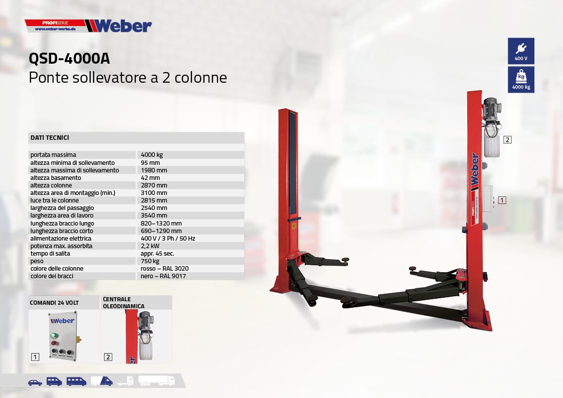 Ponte sollevatore elettroidraulico a 2 colonne Weber Profi Serie QSD-4000A