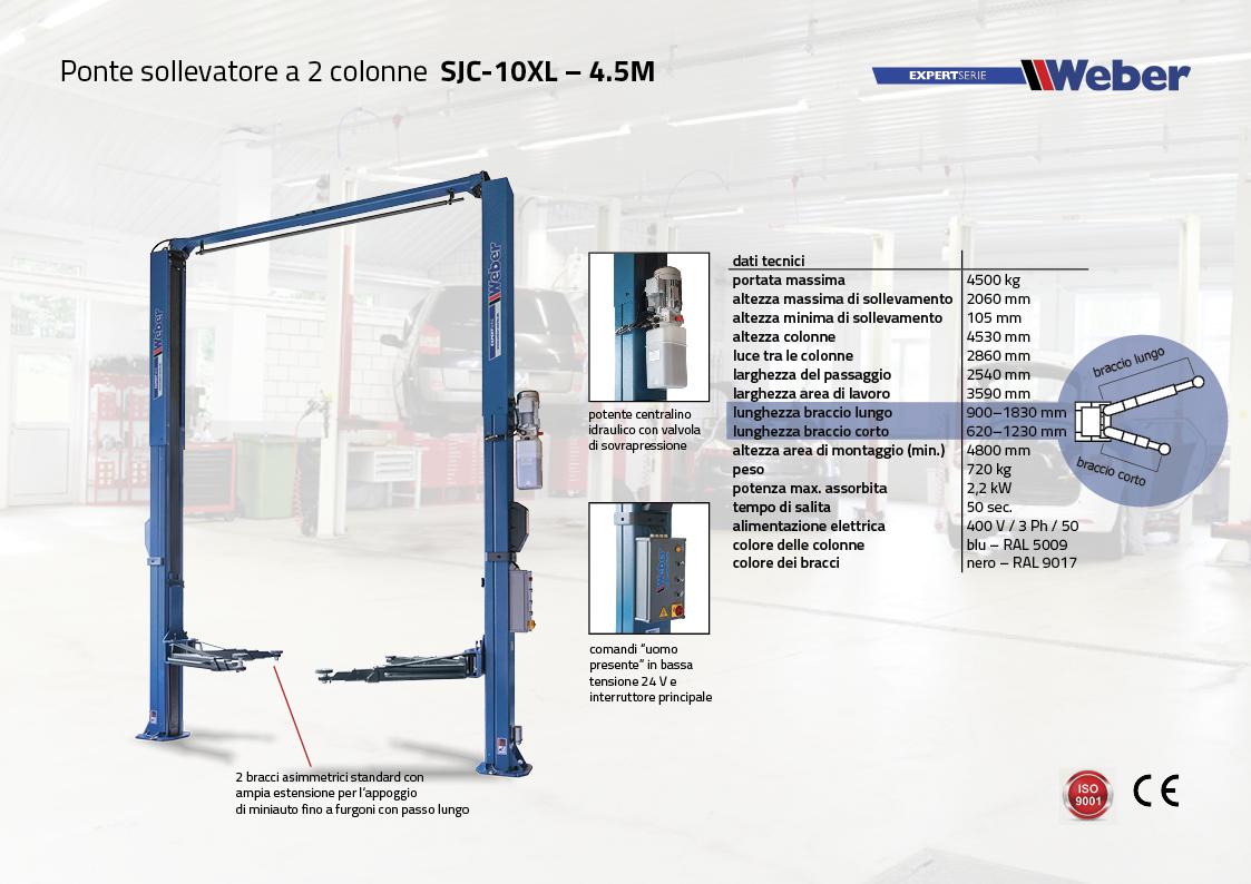 Ponte sollevatore a 2 colonne Weber Expert Serie SJC-10XL – 4.5M