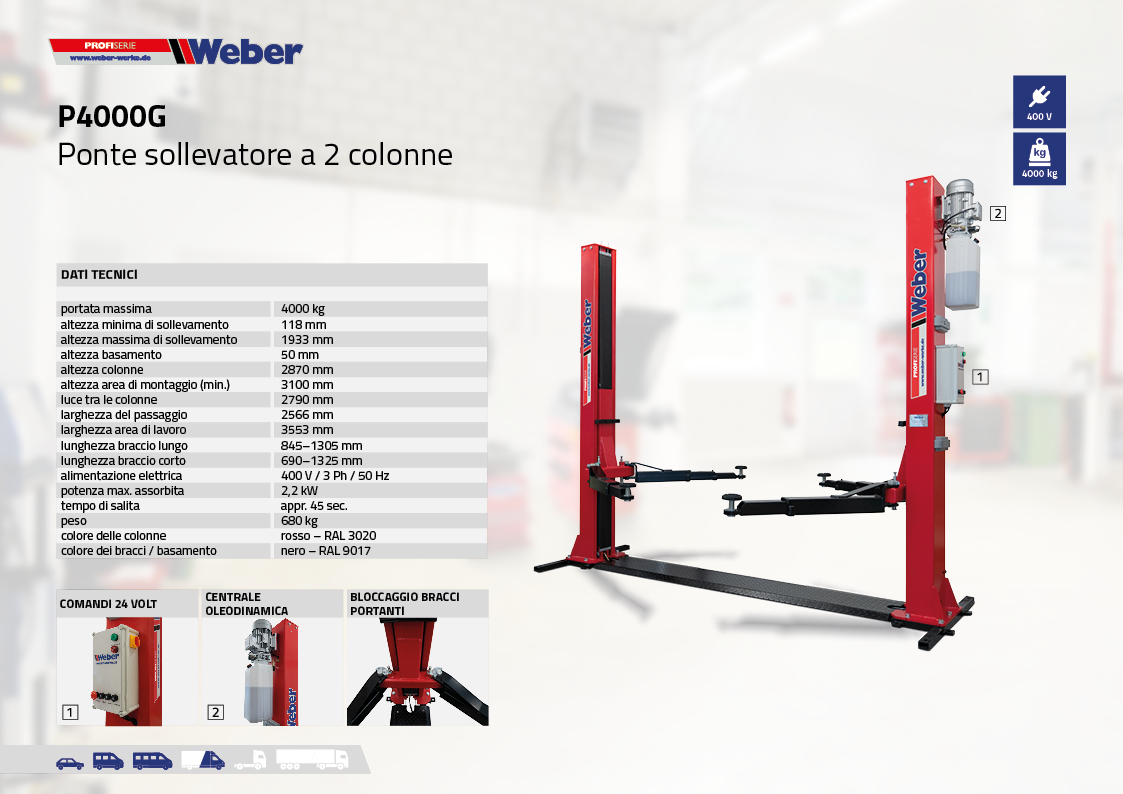Ponte sollevatore elettroidraulico a 2 colonne Weber Profi Serie P4000G con basamento portante