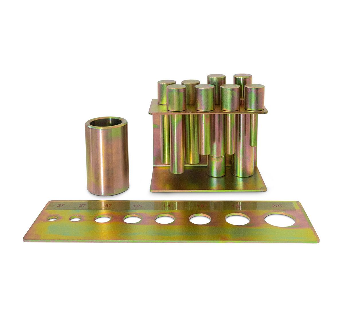 Kit estrattori di cuscinetti con piatto cacciaspine e sistema di attacco magnetico