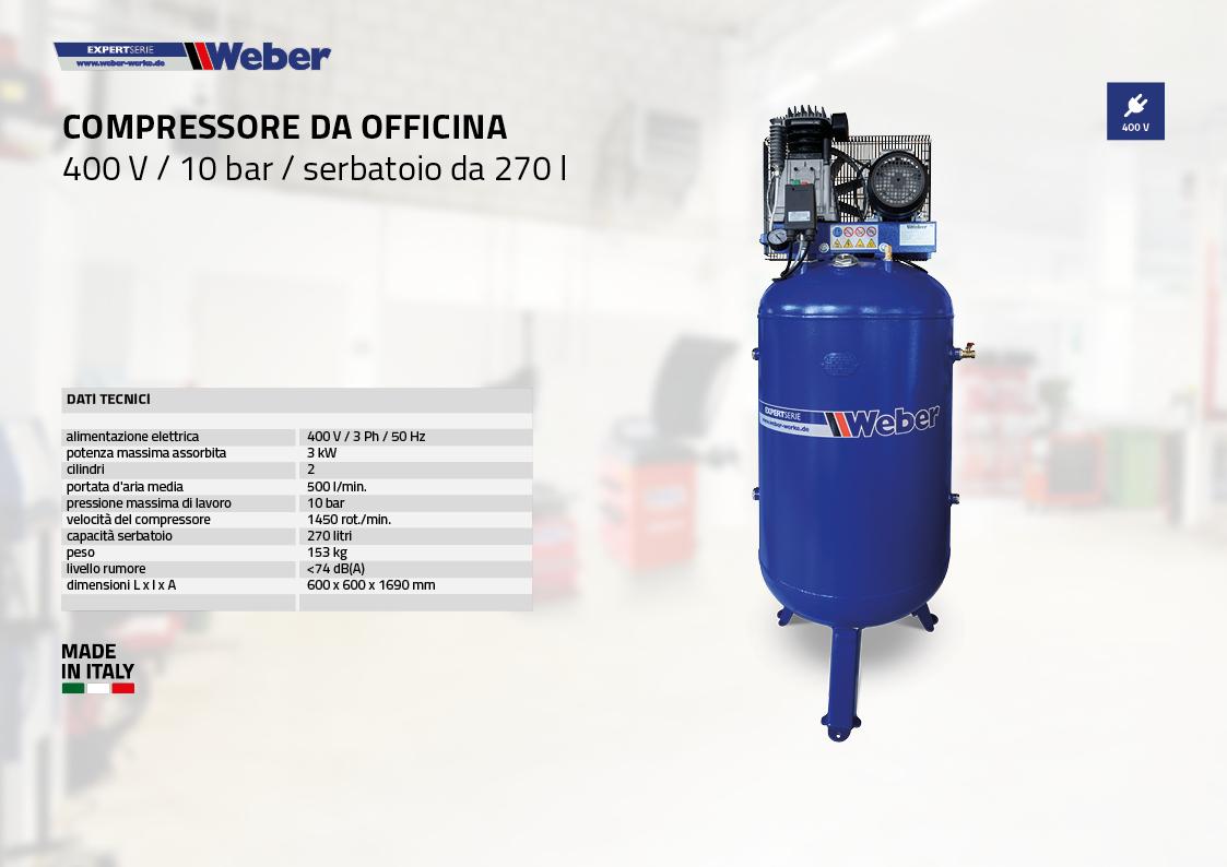 Compressore da officina 400 V / 10 bar / serbatoio da 270 l