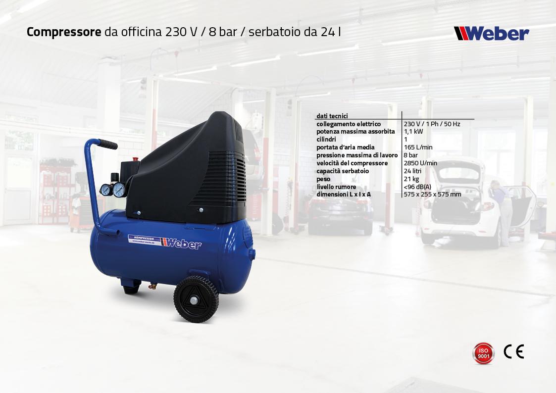 Compressore da officina 230 V / 8 bar / serbatoio da 24 l