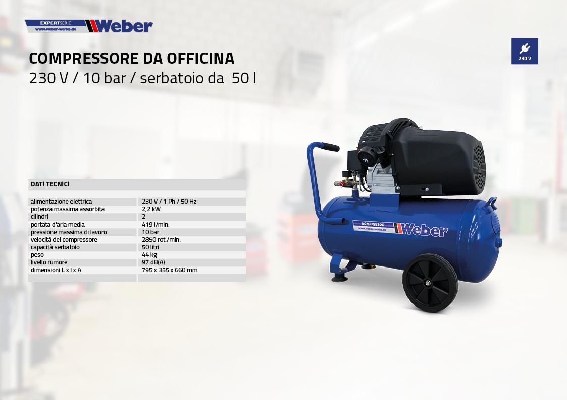 Compressore da officina 230 V / 10 bar / serbatoio da 50 l